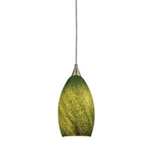 ELK Lighting 10510/1GRS - Earth 1-Light Mini Pendant in Satin Nickel with Sunlit Grass Green Glass